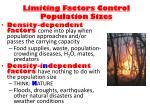 limiting factors control population sizes