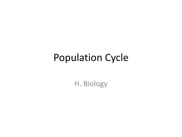 population cycle