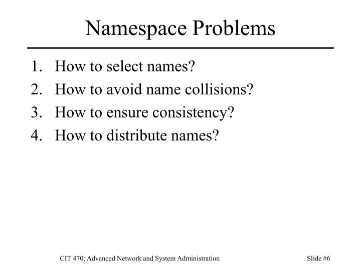 Namespace Problems