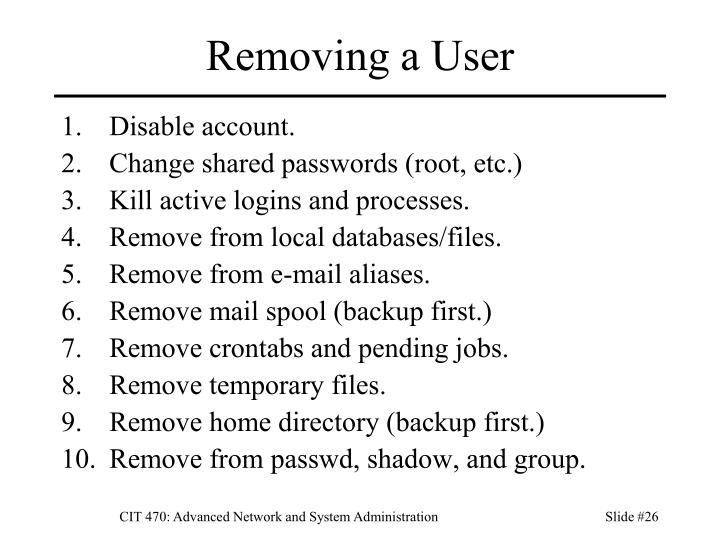 Removing a User