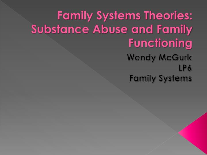 family systems theories substance abuse and family functioning n.