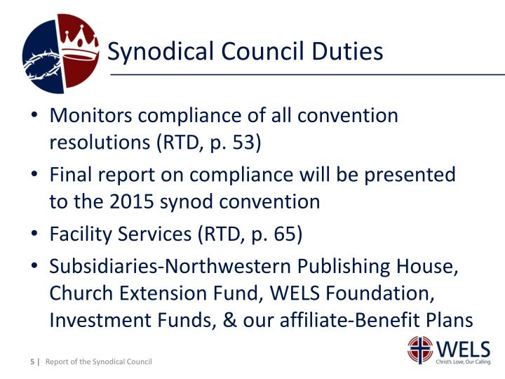 Synodical Council Duties