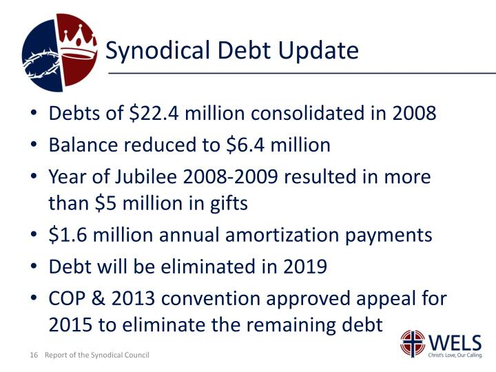 Synodical Debt Update