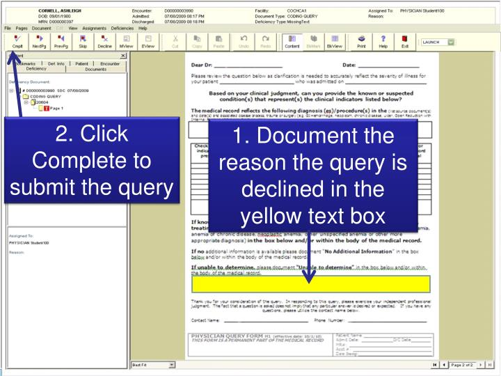 2. Click Complete to submit the query