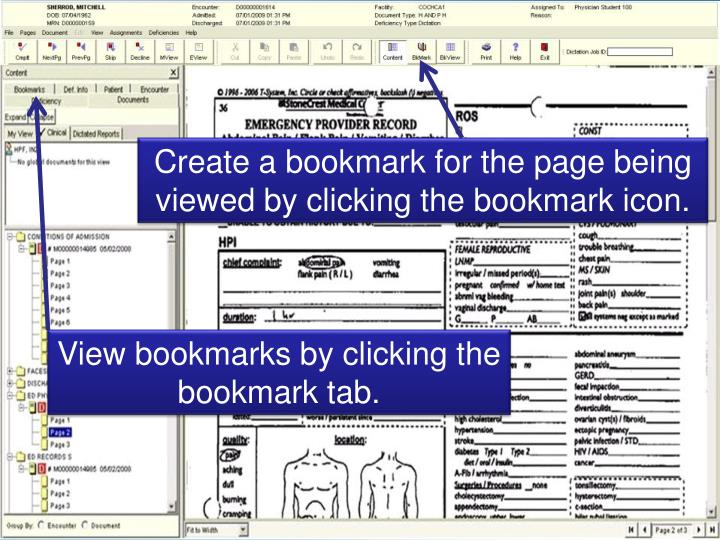 Create a bookmark for the page being viewed by clicking the bookmark icon.
