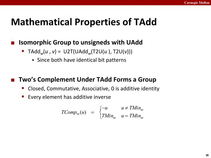 Mathematical Properties of TAdd