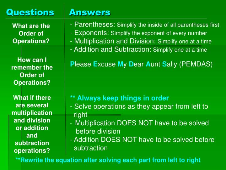 Questions                                Notes