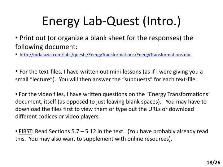 Energy Lab-Quest (Intro.)