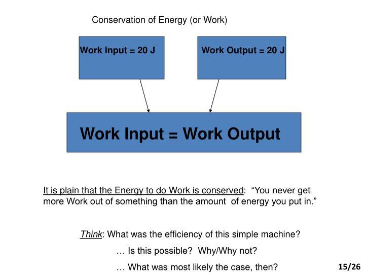 Work Input = 20 J