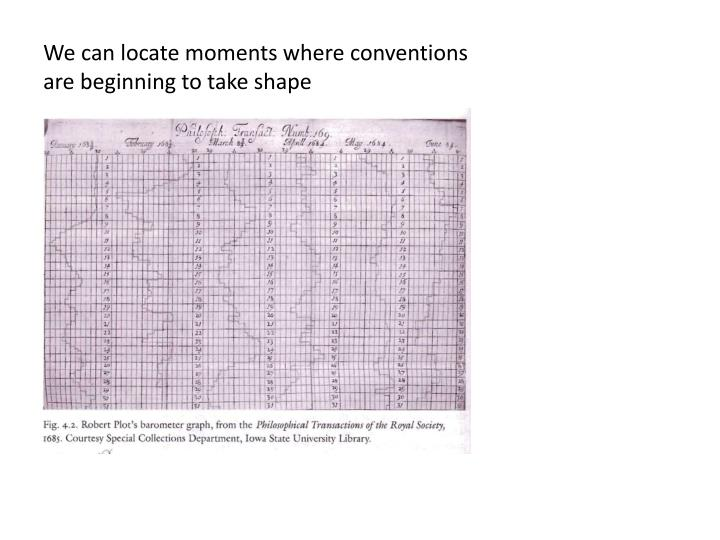 We can locate moments where conventions