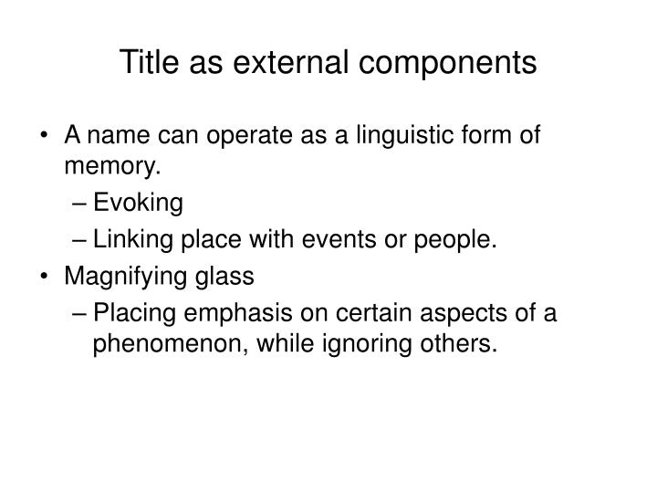 Title as external components