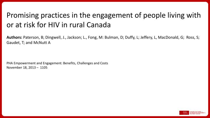 Promising practices in the engagement of people living with or at risk for HIV in