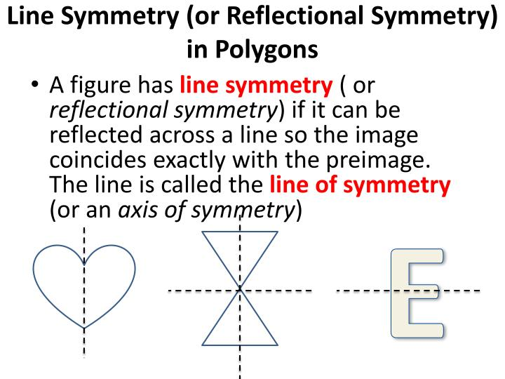 line symmetry or reflectional symmetry in polygons