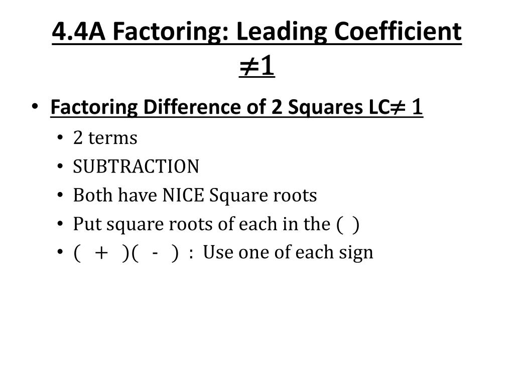 ppt 4 4a factoring leading coefficient 1 powerpoint