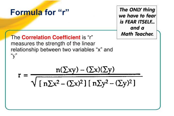 """Formula for """"r"""""""