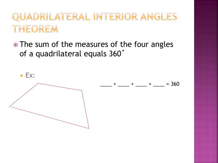 Quadrilateral Interior Angles Theorem
