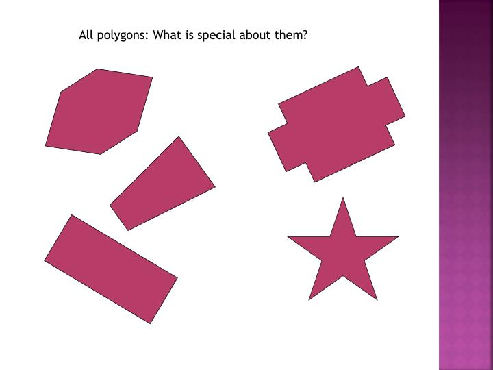 All polygons: What is special about them?