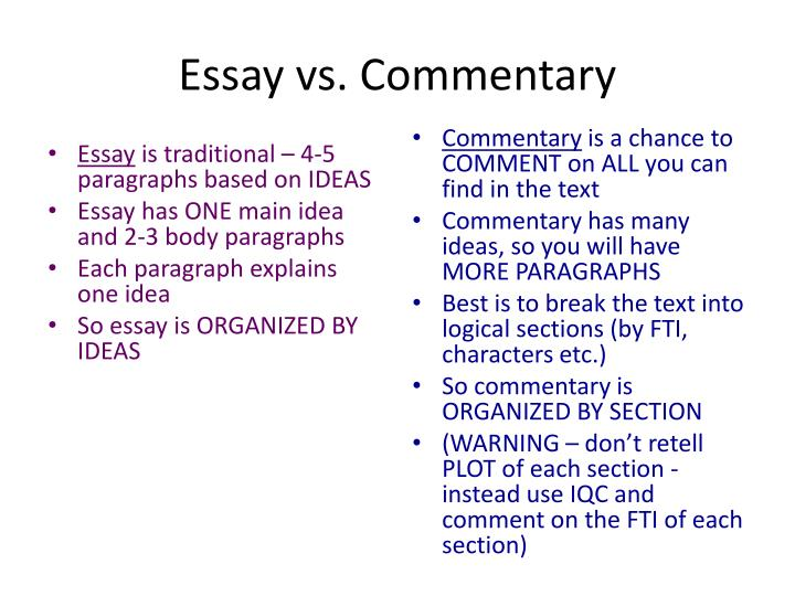 Ppt  Essay Vs Commentary Powerpoint Presentation  Id Essay Vs Commentary