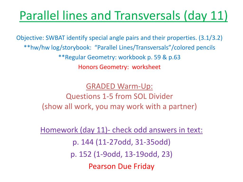 Ppt Parallel Lines And Transversals Day 11 Powerpoint