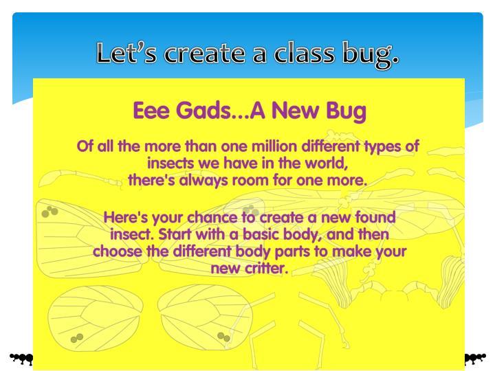 Let's create a class bug.