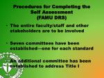 procedures for completing the self assessment famu drs
