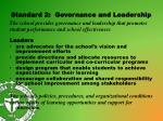 standard 2 governance and leadership