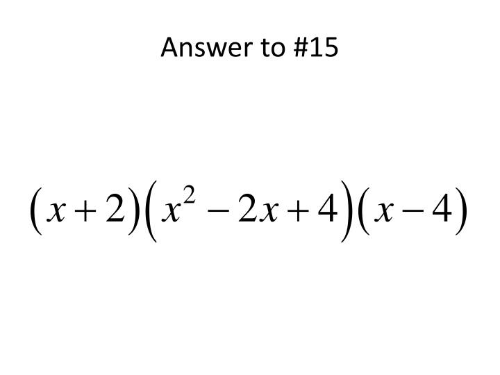 Answer to #15