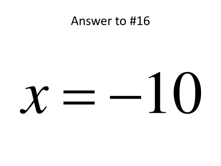 Answer to #16