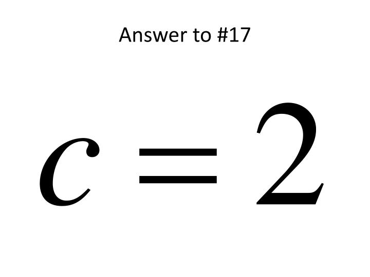 Answer to #17