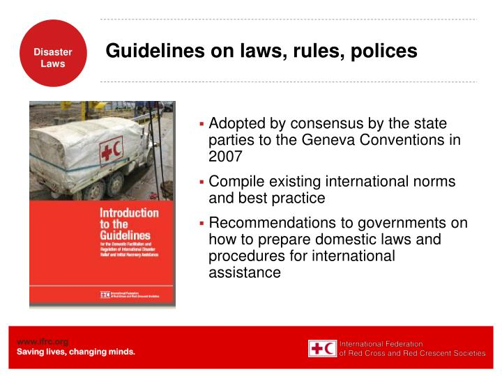 Guidelines on laws, rules, polices