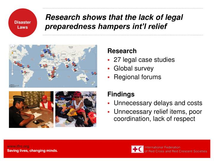 Research shows that the lack of legal preparedness hampers int l relief