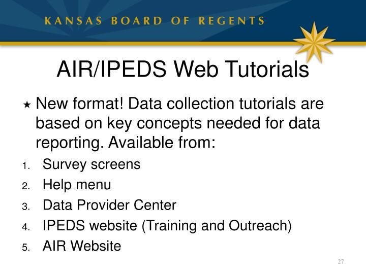 AIR/IPEDS Web Tutorials