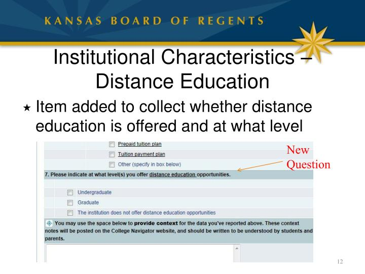 Institutional Characteristics – Distance Education