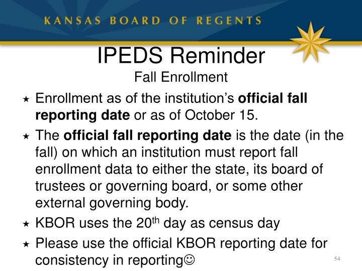 IPEDS Reminder
