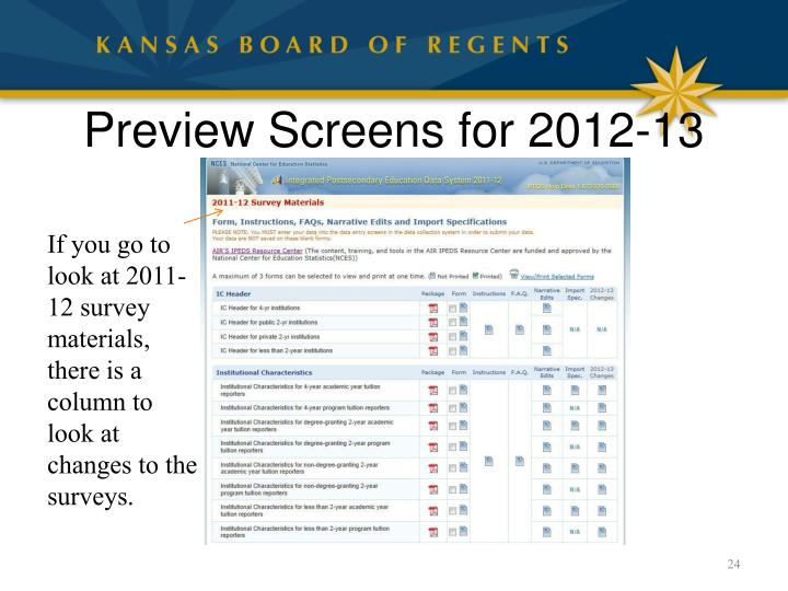 Preview Screens for 2012-13