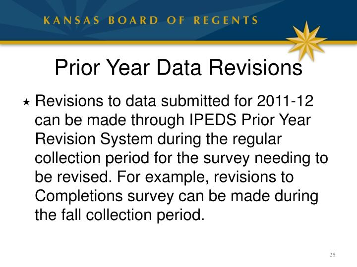 Prior Year Data Revisions