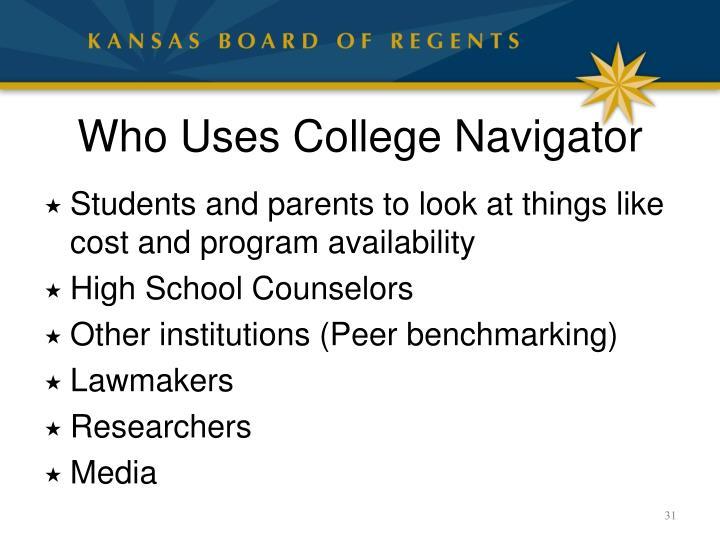 Who Uses College Navigator
