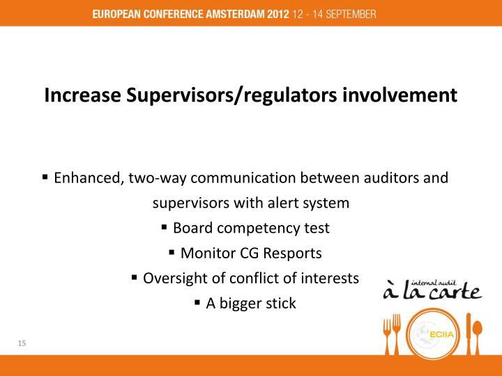 Increase Supervisors/regulators involvement
