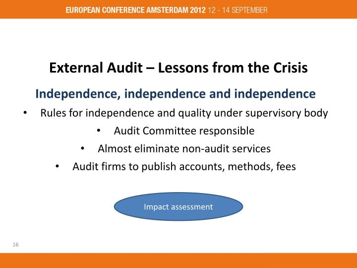 External Audit – Lessons from the Crisis