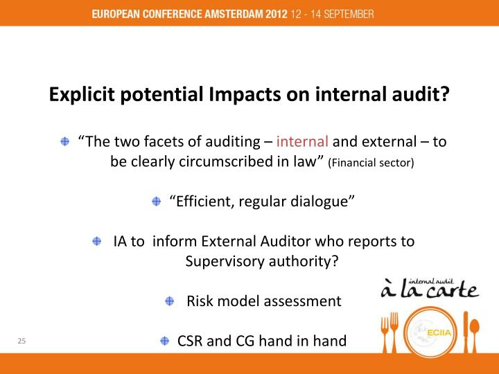 Explicit potential Impacts on internal audit?