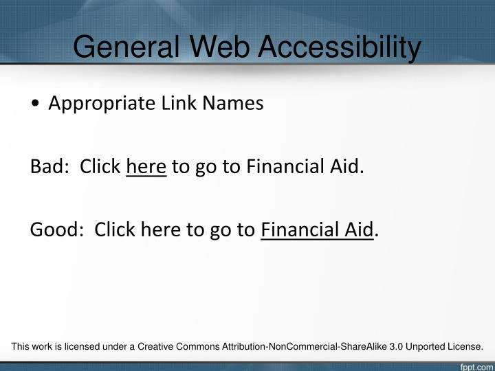 General Web Accessibility