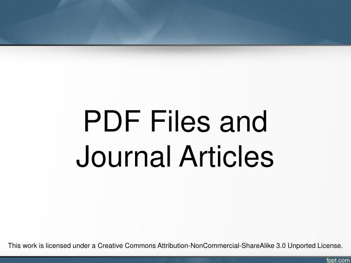 PDF Files and