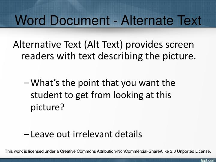 Word Document - Alternate Text