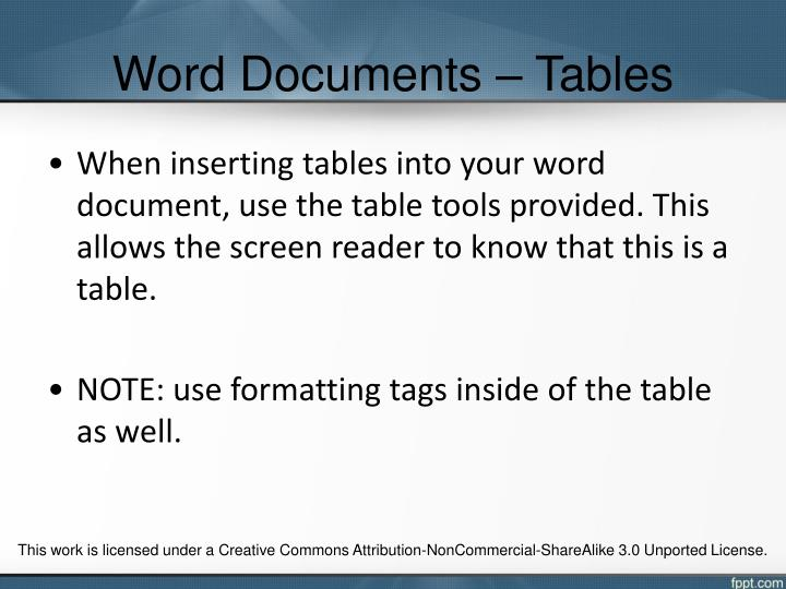 Word Documents – Tables
