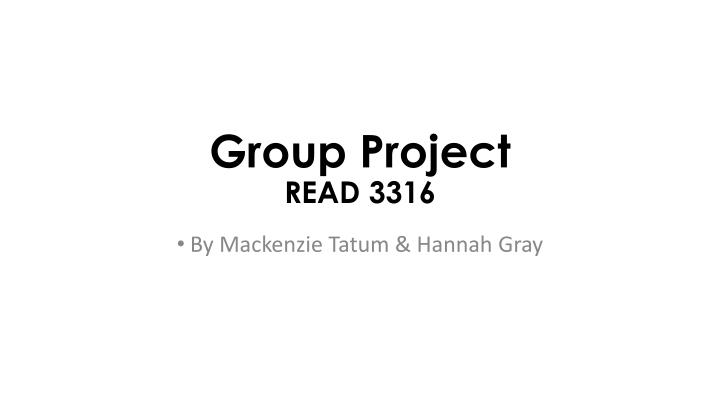 group project read 3316 n.