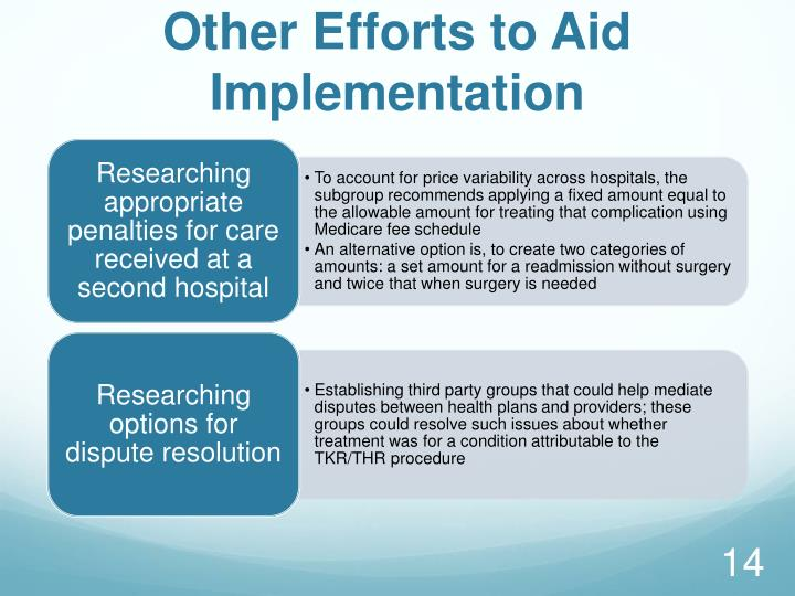 Other Efforts to Aid Implementation