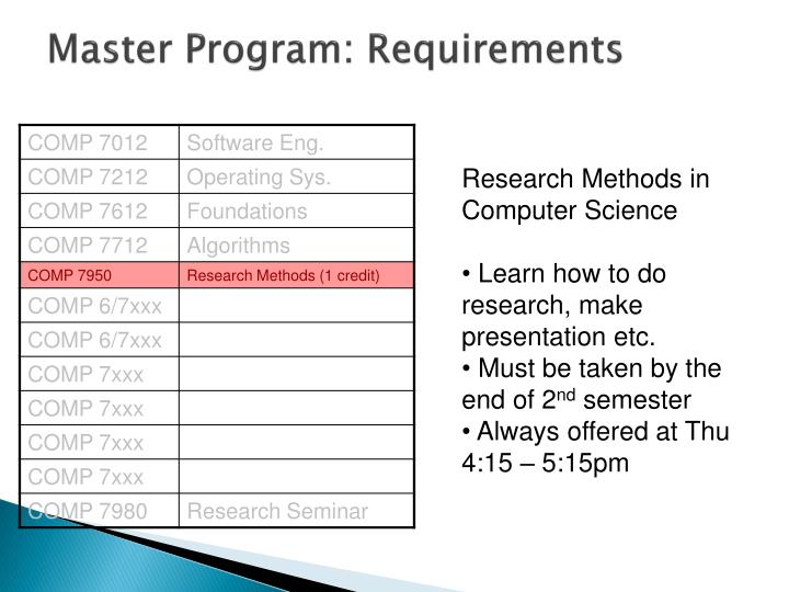 masters program thesis Master's thesis option program (mtop) as a professional program in a research institution, the school of information recognizes both the value of engaged learning and the value of research-oriented activities.