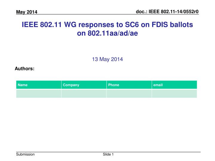 Ieee 802 11 wg responses to sc6 on fdis ballots on 802 11aa ad ae