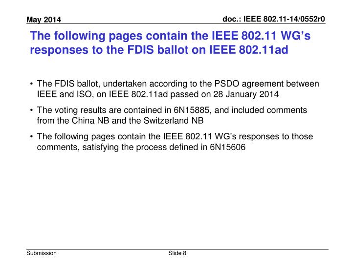 The following pages contain the IEEE 802.11 WG's responses to the FDIS ballot on IEEE 802.11ad