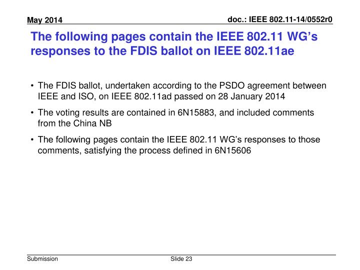 The following pages contain the IEEE 802.11 WG's responses to the FDIS ballot on IEEE 802.11ae